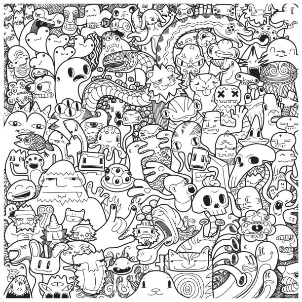 freehand monster doodle in black & white - doodle stock illustrations