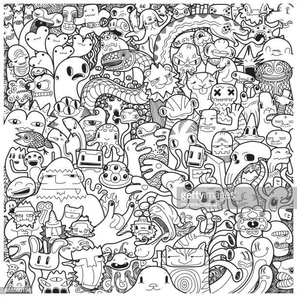 freehand monster doodle in black & white - artistic product stock illustrations