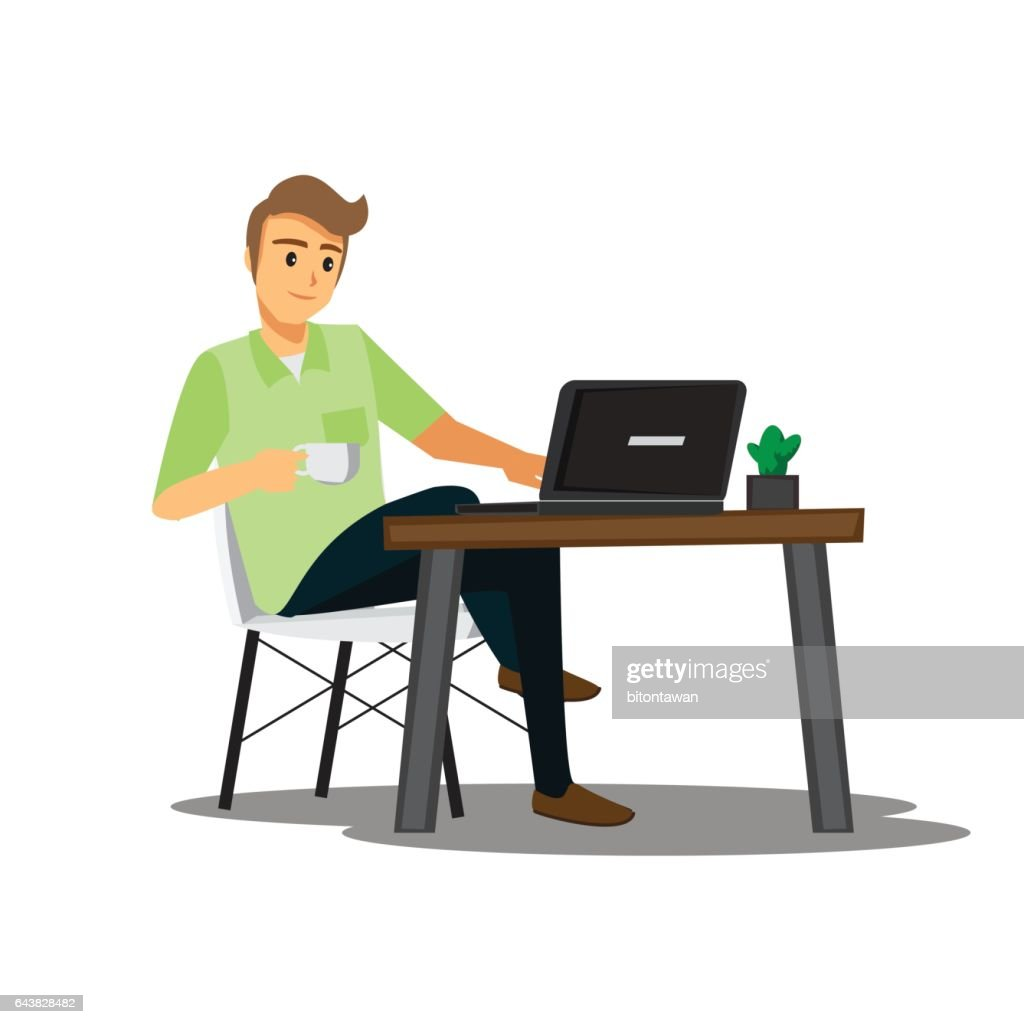 freelance developer or designer working at home,vector character