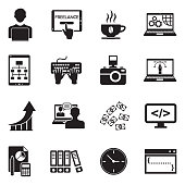 Freelance Icons. Black Flat Design. Vector Illustration.
