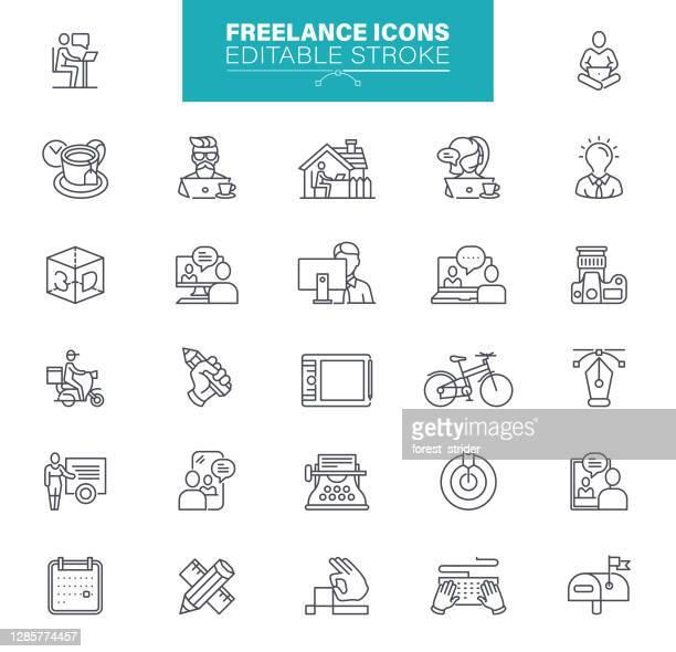 フリーランスのラインアイコン - 編集可能なストローク - 人間工学点のイラスト素材/クリップアート素材/マンガ素材/アイコン素材