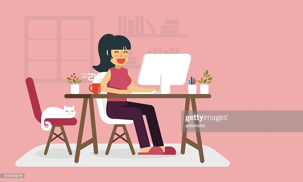 Freelance woman working at home.
