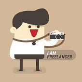 Freelancer concept, businessman with camera