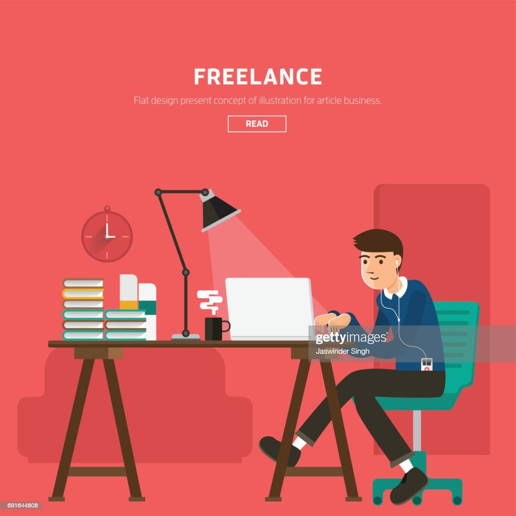 freelancer with elements vector