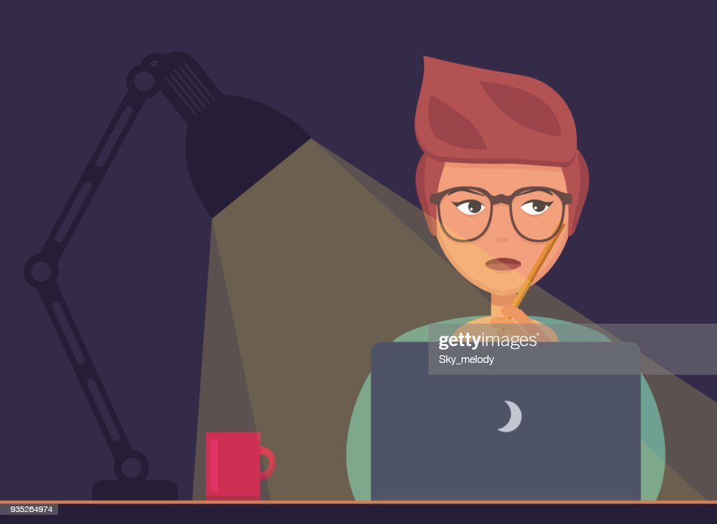 Freelancer working at night concept. Young woman sitting with laptop, working, surfing internet or networking. Programmer, designer or writer night job. Flat design vector illustration.