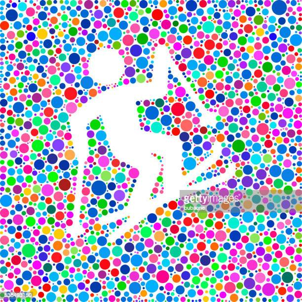 Freestyle Skiing Icon on Color Circle Background Pattern
