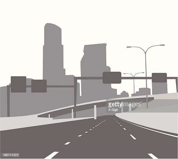 freeway gantry vector silhouette - overpass road stock illustrations