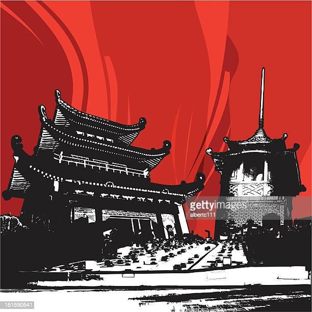 freeway to chinatown - pagoda stock illustrations, clip art, cartoons, & icons
