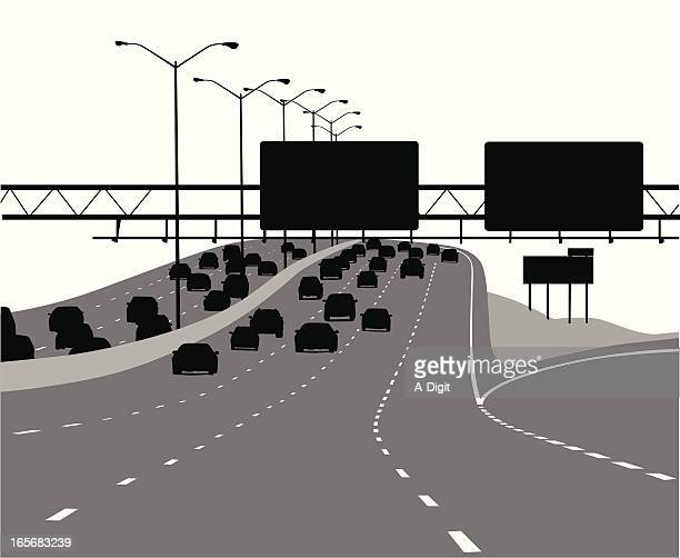 freeway vector silhouette - dividing line road marking stock illustrations, clip art, cartoons, & icons