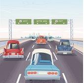 Freeway vintage cars traffic