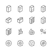 Freezer and refrigerator icon set in thin line style