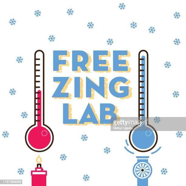 freezing lab typography - fahrenheit stock illustrations