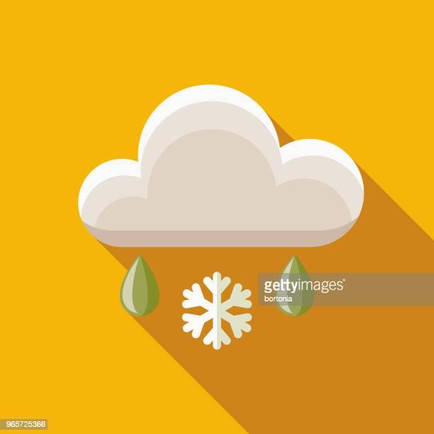 freezing rain flat design autumn icon with side shadow - hailstone stock illustrations, clip art, cartoons, & icons