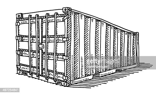 Freight Container Drawing Vector Art Getty Images