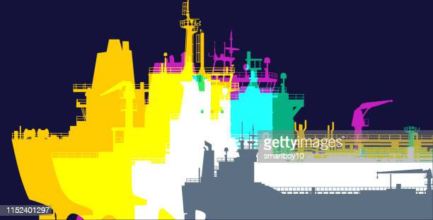 freight or cargo ships - floating on water stock illustrations