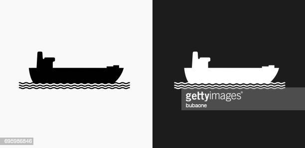 Freight Ship Icon on Black and White Vector Backgrounds