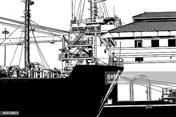 freight ship in the panama canal miraflores locks - panama city stock illustrations, clip art, cartoons, & icons