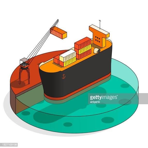 貨物船 - 荷積み場点のイラスト素材/クリップアート素材/マンガ素材/アイコン素材