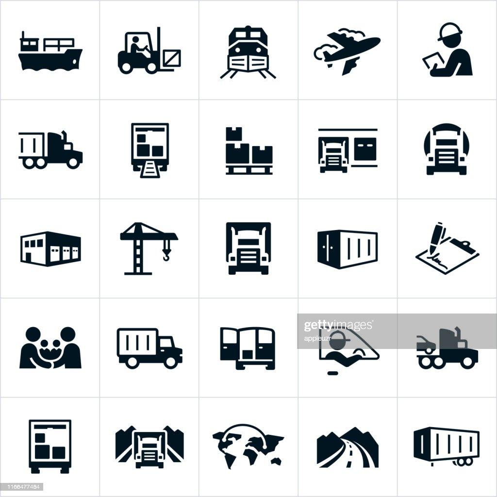 Pictogrammen vrachtvervoer : Stockillustraties