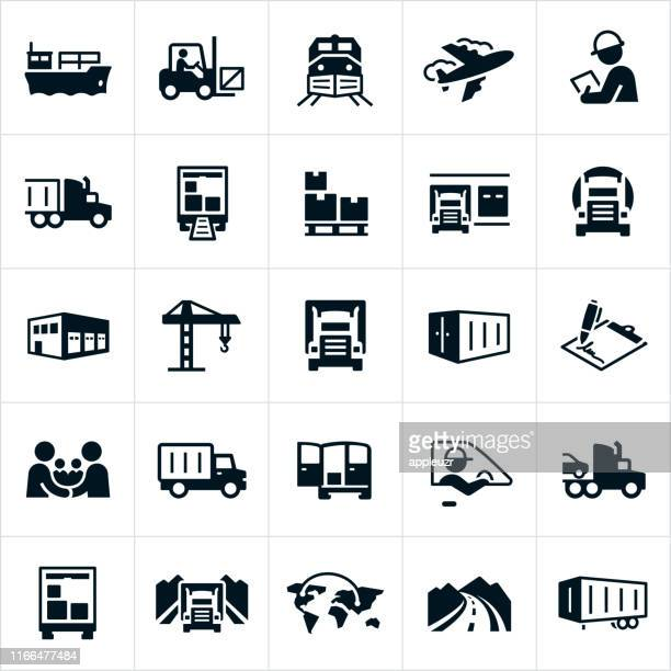 freight transport icons - land vehicle stock illustrations