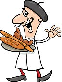 french baker cartoon illustration
