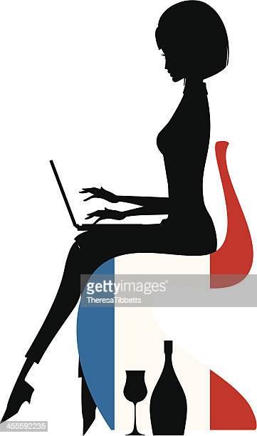 illustrations, cliparts, dessins animés et icônes de blogueuse français - femme bcbg