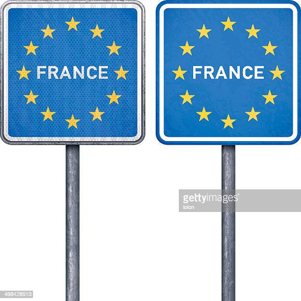 French border road sign with European flag