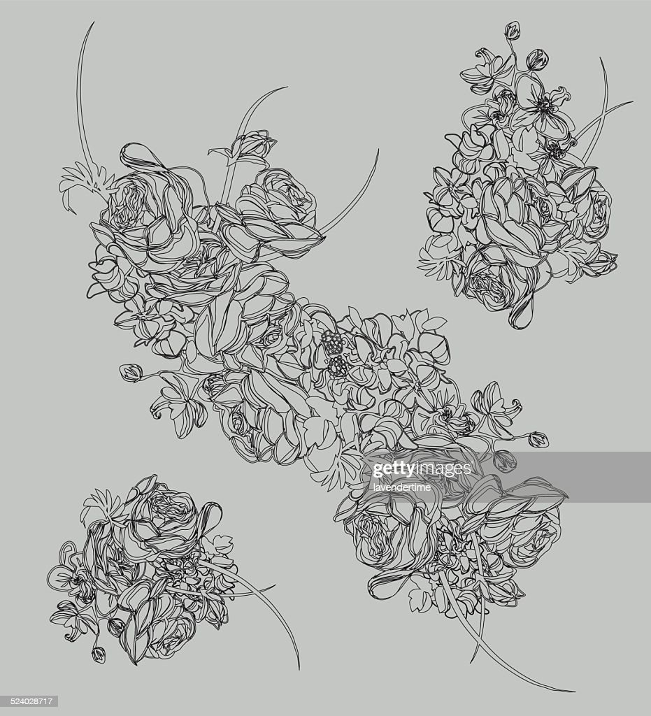 French bouquet contour design vector elements
