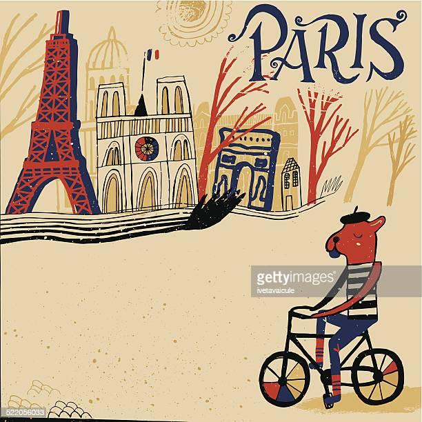 ilustraciones, imágenes clip art, dibujos animados e iconos de stock de bulldog francés ciclismo a través de la ciudad de parís en francia. - cultura francesa