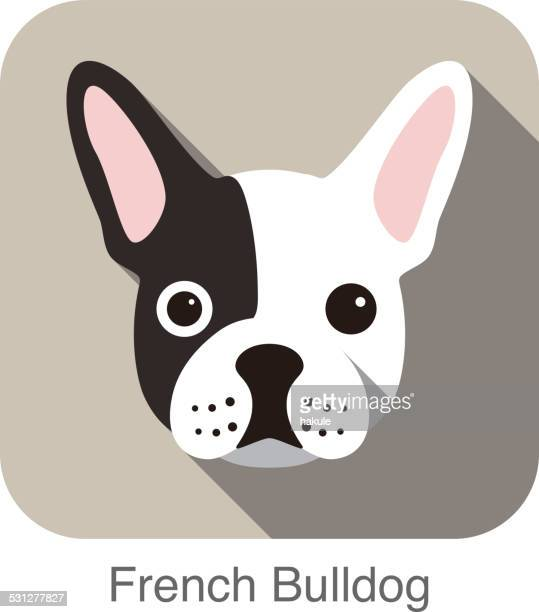 French bulldog  face flat icon, dog series
