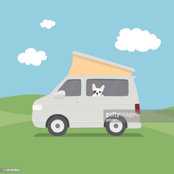 illustrations, cliparts, dessins animés et icônes de français bulldog regardant par la fenêtre de l'intérieur d'un fourgon de camping-car - camping car