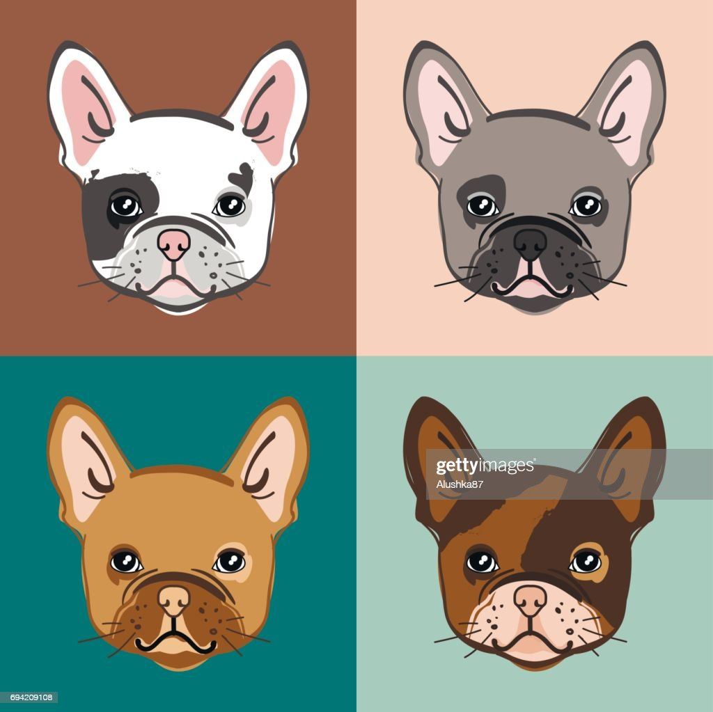 French Bulldog. Vector set of cute bulldog's face.