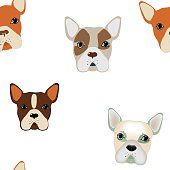 French bulldogs seamless background.