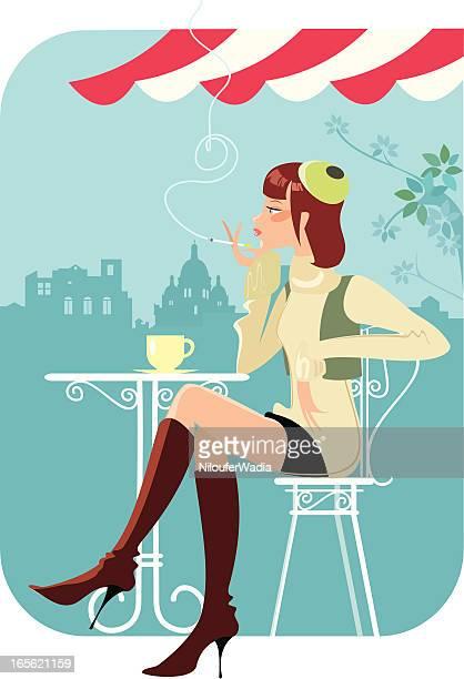 ilustrações de stock, clip art, desenhos animados e ícones de de café lady - mesa cafe da manha