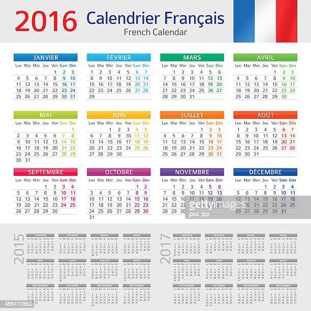 french calendar 2016 / calendrier français 2016 - 2017 stock illustrations