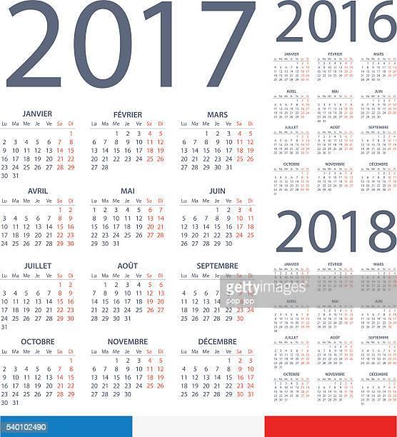 french calendar 2017 2016 2018 - illustration - 2016 stock illustrations, clip art, cartoons, & icons