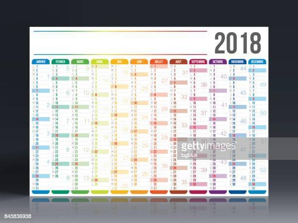 illustrations, cliparts, dessins animés et icônes de français calendrier 2018 - 2018