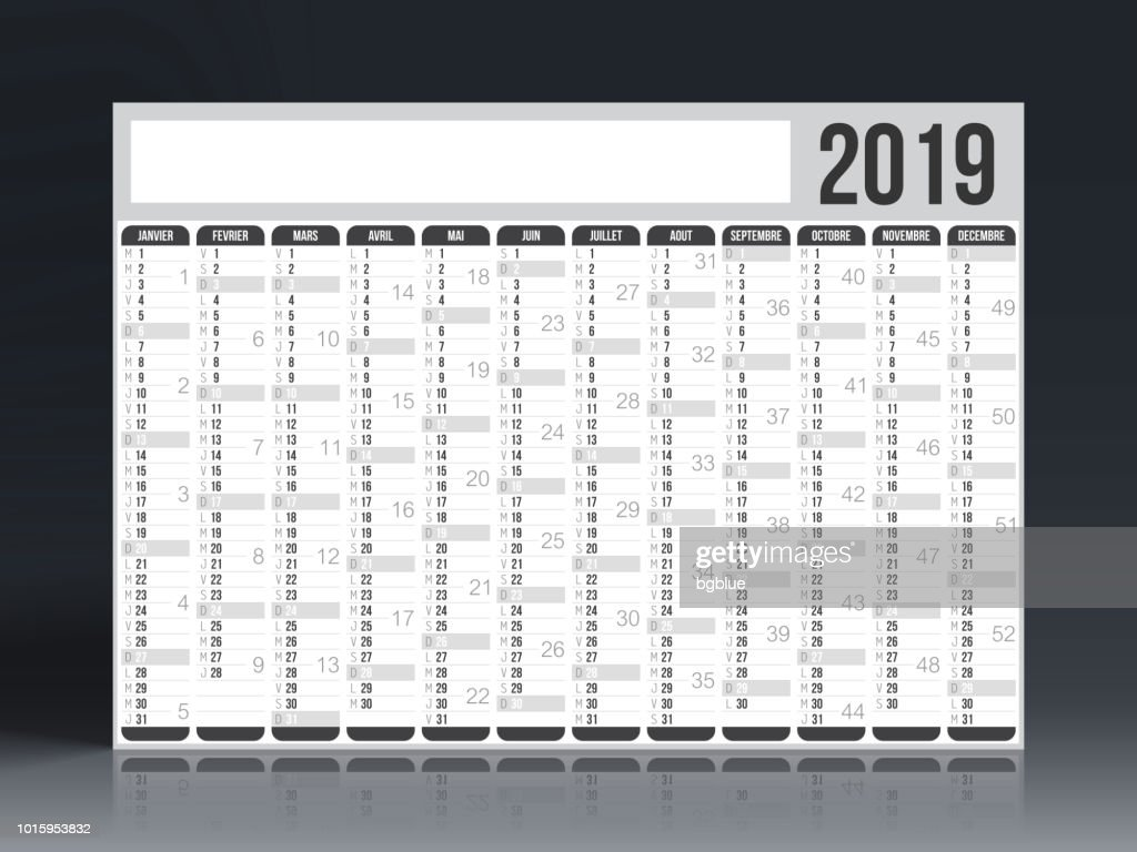 French Calendar 2019 Vector Art Getty Images