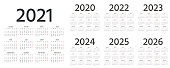 French Calendar 2021, 2022, 2023, 2024, 2025, 2026, 2020 years. Vector illustration. Template planner.