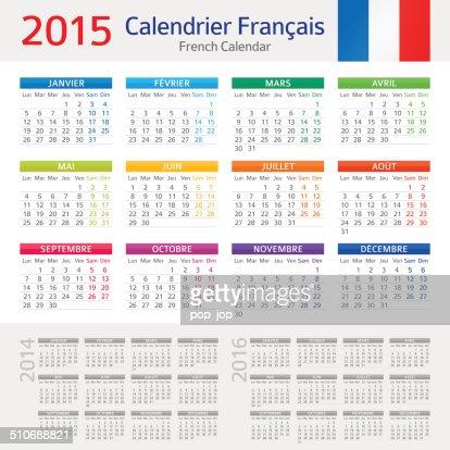 Illustration Calendrier.French Calendar Calendrier Francais 2015 Illustration Vector