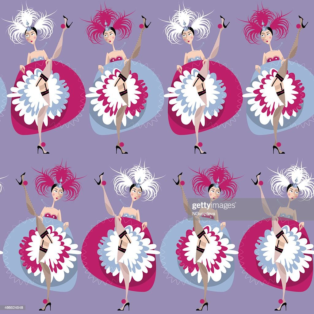 French cancan dancers. Seamless background pattern.