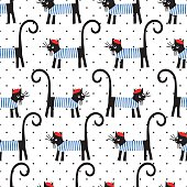 French cat seamless pattern on polka dots background.