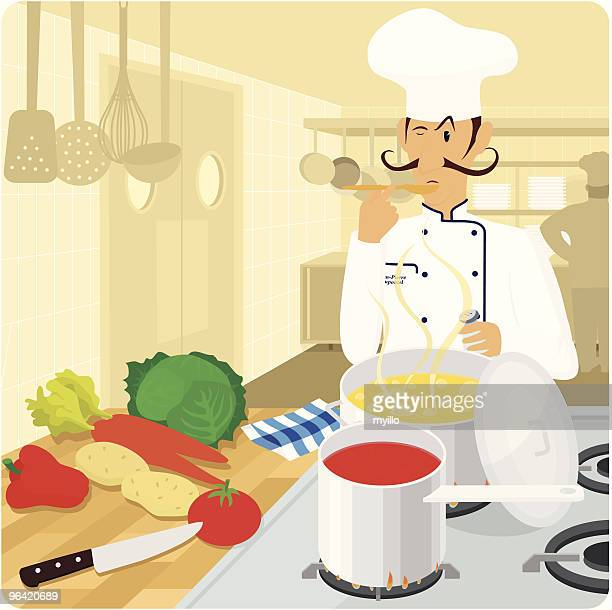 French chef in the kitchen vector illustration