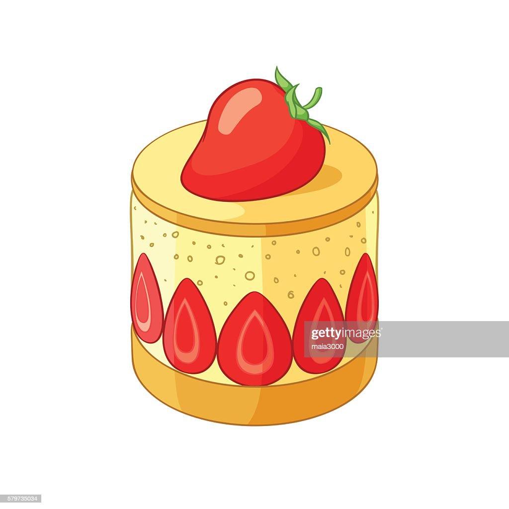 French classic strawberry fraisier dessert. Vector illustration.