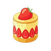 French classic strawberry fraisier dessert. Vector illustration.