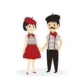 French Couple Cartoon Vector