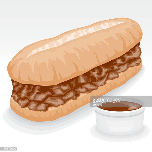 フランス dip サンドイッチ - ローストビーフ点のイラスト素材/クリップアート素材/マンガ素材/アイコン素材