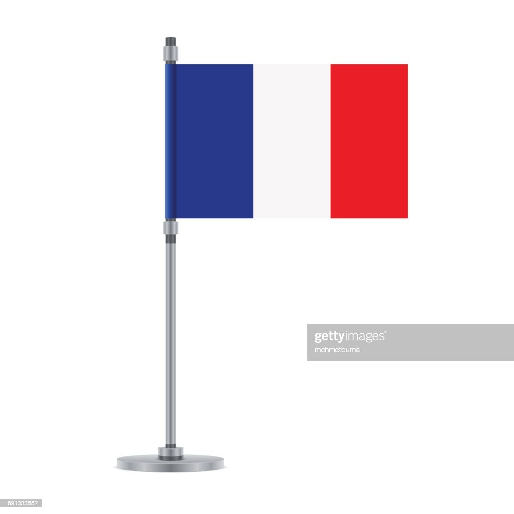 French flag on the metallic pole, vector illustration