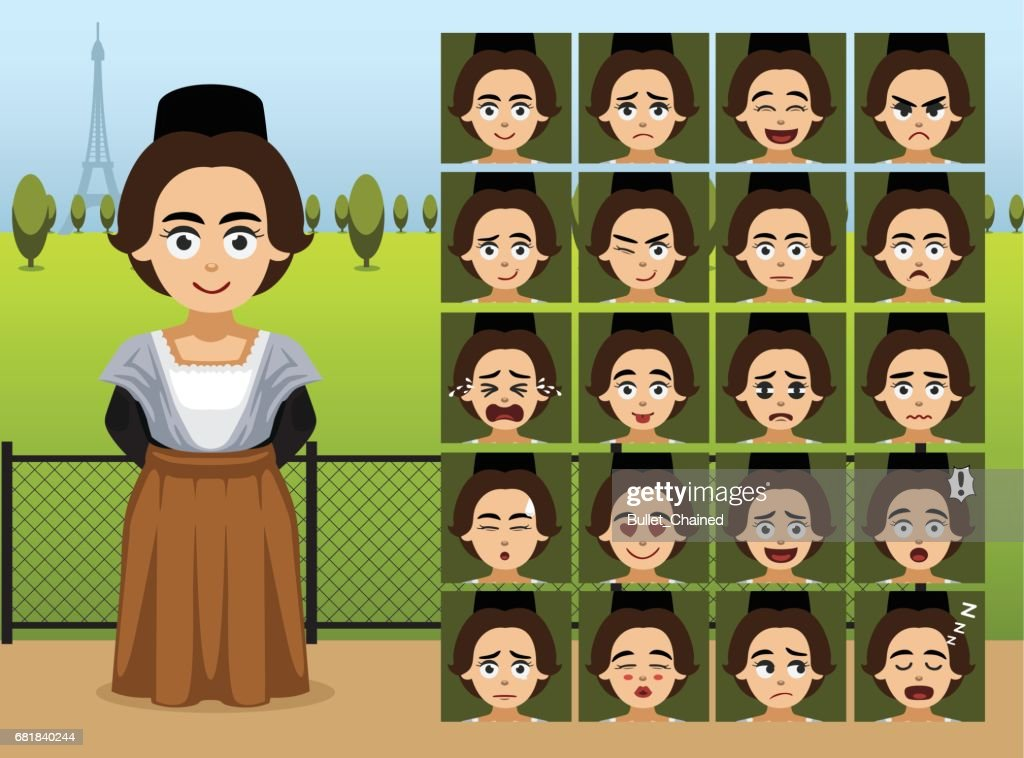 French Folk Girl Cartoon Emotion faces Vector Illustration