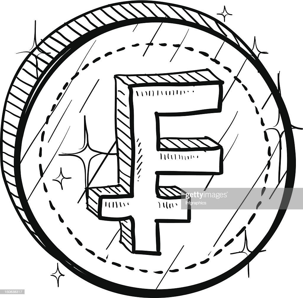 French Franc Currency Symbol On Coin Sketch Vector Art Getty Images